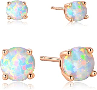 18K Rose Gold Plated Opal Stud Earrings 6MM Round For Women