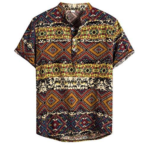 CAOQAO Camisa Lino Hawaiana Hombre Algodón de Lino Impresión de Hawaii Manga Corta Camisas Funky Blusa