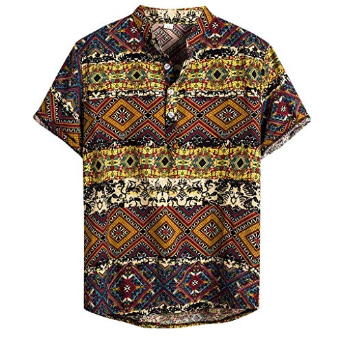 LILICAT Herren Casual Hemd Hawaiihemd Baumwoll Kurzarm Shirts 3D Gedruckt Freizeithemd Button Down Sommerhemd Henley Slim Fit Hemden Regular Fit T-Shirts Tops