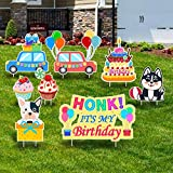 Irthlai Happy Birthday Yard Sign with Stakes - Honk Its My Birthday Yard Sign - Cupcake Lawn Decorations - Set of 8 (Yellow)