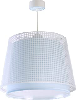 Dalber Lámpara Infantil de techo Vichy Azul, 60 W