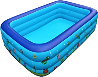 TZOU Adults Kids Swimming Pool Inflatable Pool Baby Bucket Family Bath Printing Pool Printed Swimming Pool 1.5 Meters Thre...
