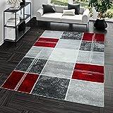 T&T Design Alfombra De Salón Moderna Económica Diseño Cuadros En Gris Rojo Al Mejor Precio, Größe:120x170 cm