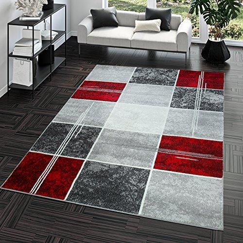 T&T Design Alfombra De Salón Moderna Económica Diseño Cuadros En Gris Rojo Al Mejor Precio, Größe:160x220 cm