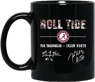 ROLL TIDE ALABAMA CRIMSON TIDE TUA TAGOVAILOA JALEN HURTS SIGN 11 oz. Black Mug Coffee Mug/Tea Cup For Office Home Pretty Design Best Gift for Men Women.