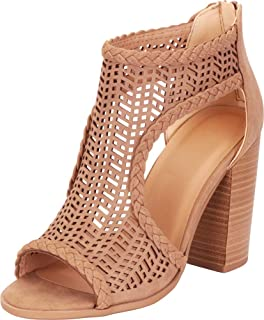 615d2dcd642 Cambridge Select Women s Open Toe Laser Cutout Caged Chunky Block High Heel  Ankle Bootie