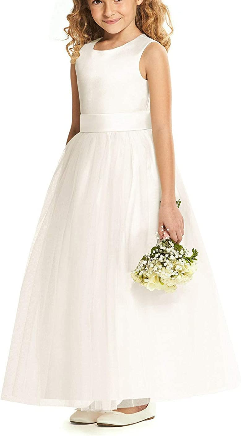 SlenyuBridal First Communion Dresses Tulle for Flower Girl with Belt