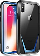 iPhone Xs Case, iPhone X Case, Poetic Guardian [Scratch Resistant Back] [Built-in-Screen Protector] Full-Body Rugged Hybrid Bumper Clear Case for Apple iPhone X (2017)/ iPhone Xs (2018) - Black/Blue