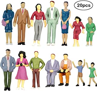 20PCs Tiny People Figures, Gdaya 1:25 Scale Model Train People Hand Painted Model Trains Architectural G Scale Sitting and Standing Miniatures Figures for Miniature Scenes