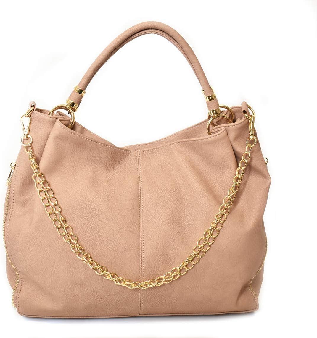 Charming Charlie Women's Slouchy Hobo Bag w/Chain Detail - Crossbody Strap, Side Zipper Design - Pink