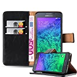 Cadorabo Hülle für Samsung Galaxy Alpha - Hülle in Graphit SCHWARZ – Handyhülle im Luxury Design mit Kartenfach & Standfunktion - Hülle Cover Schutzhülle Etui Tasche Book