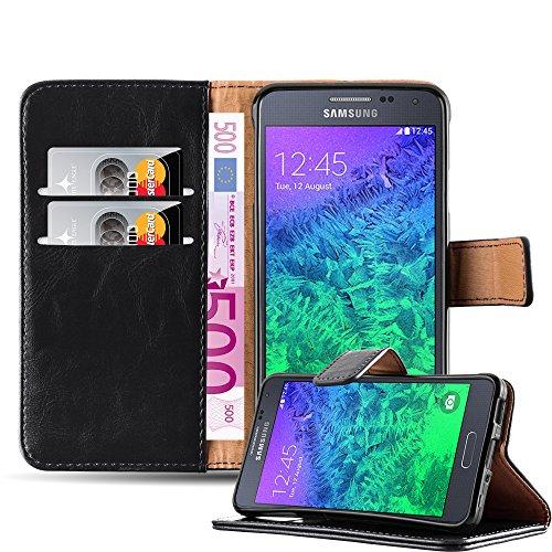 Cadorabo Hülle für Samsung Galaxy Alpha - Hülle in Graphit SCHWARZ – Handyhülle im Luxury Design mit Kartenfach und Standfunktion - Case Cover Schutzhülle Etui Tasche Book