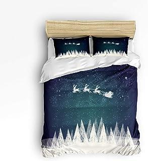 Juego de cama de 3 piezas, reno de feliz Navidad volando sobre el cielo estrellado misterioso y los árboles blancos como la nieve Juego de funda nórdica de 3 piezas Colcha de cama para niños / niños /