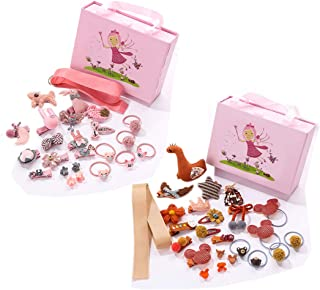 24 PCS Baby Girl Hair Accessories Cute Hair Clips Bows Barrettes Ponytail Holder Hairpins,for Infant and Toddlers Fine Hair with Gift Box (Pink&Orange)