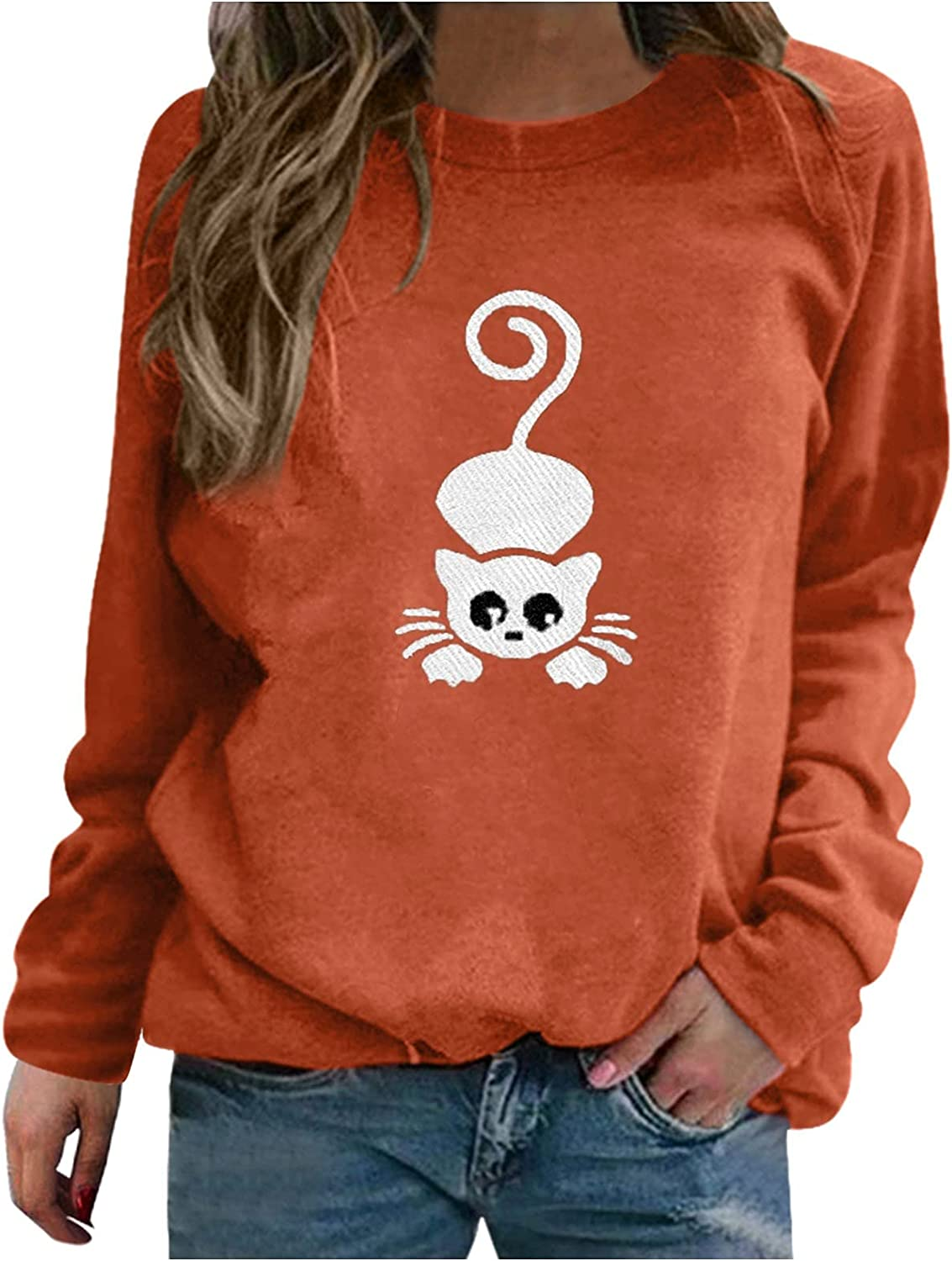 Oversized Sweatshirt for Women Long Sleeve Cat Graphic Aesthetic Loose Thin Pullover Casual Top Shirt for Teen Girls