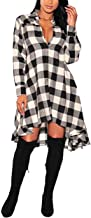 OLRAIN Womens New Plaids Irregular Hem Casual Shirt Dress