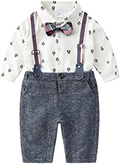 Baby Boys Gentleman Outfits Suits, Infant Shirt+Bib Pants+Bow Tie+Suspender Overalls Clothes Set
