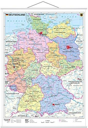 Stiefel EUROCART Deutschlandkarte Deutschland politisch, 67 x 91 cm mit Metallleiste