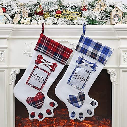 OldPAPA Medias de Navidad para Mascotas, 2 Medias Navideñas con Soporte para Marco de Fotos, Decoraciones de Pared...