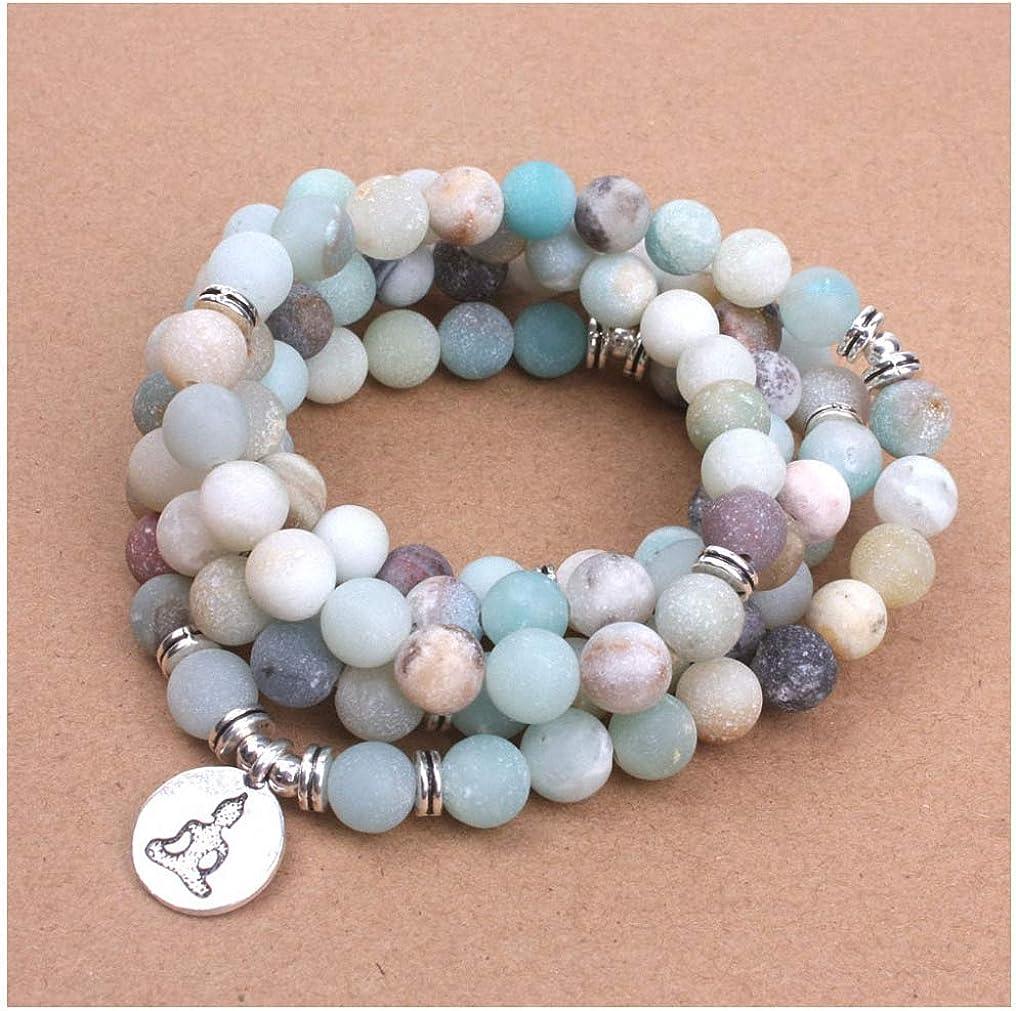 Natural Matte Amazonite Healing Mala Necklace  Bracelet with Lotus Pendant