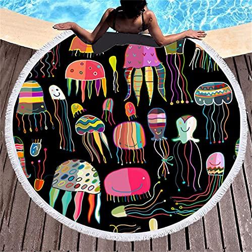 Patrón De Impresión Digital 3D De Medusas De Mar Profundo Toalla De Playa Redonda De Microfibra Toalla De Playa Absorbente De Secado Rápido Toalla De Piscina 150 * 150cm