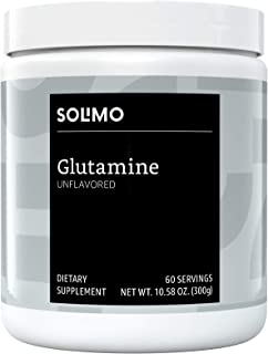 Amazon Brand - Solimo Glutamine Powder, Unflavored, 5 G L-Glutamine per Serving, 10.58 Ounce (60 Servings)