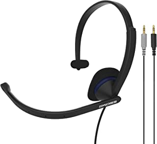 Koss CS195 Single-Sided On-Ear Communication Headset, Noise-Cancelling Electret Microphone, Flexible Microphone Arm, Wired with Dual Analog Plugs, Black