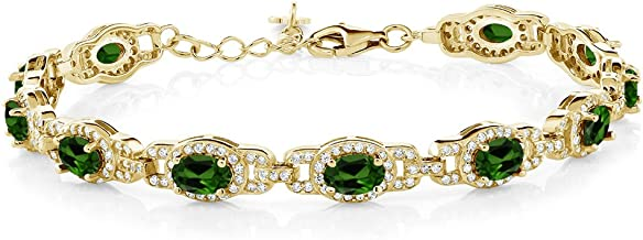 Gem Stone King 8.55 Ct Oval Green Chrome Diopside 18K Yellow Gold Plated Silver Bracelet