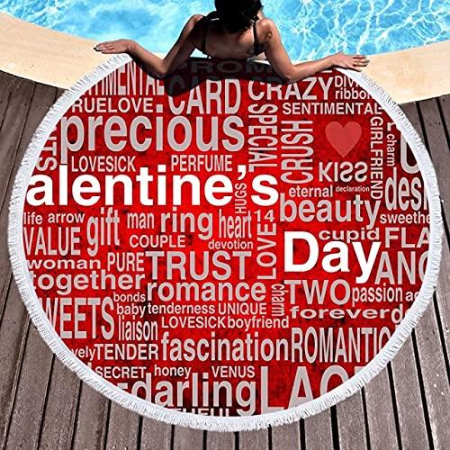 IAMZHL Verano de Secado rápido patrón de Alfabeto Pintura Toalla de Playa Turismo de Vacaciones en la Playa Toalla de baño Circular con Borla Estera de Yoga-a2-150 x 150CM