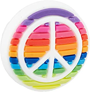 Crocs Jibbitz Symbols Shoe Charm, Rainbow Peace Sign, Small