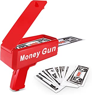 Lefree Spary Money Gun,Make it Rain,Playing Money Spary,Prop Money Gun with 100 Pcs,Money Gun Drop Red(Including Batteries4)