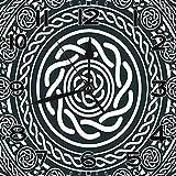 BeeTheOnly Reloj de Pared Celta de Monocromo Tribal étnico Mandala Fondo Azul Oscuro Gris y Blanco Dormitorio Sala de Estar Cocina Reloj de casa