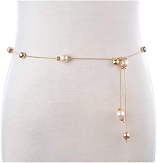 LUKEEXIN Ladies Fashion Beaded Gold Waist Chain Skirt Decorative Belt Fashion Body Accessories (Color : Pink)