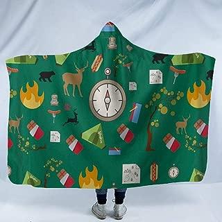 JUNZYGH Hooded Blanket 3D,Green Clock Creative Elk Animal,Men Women Printing Plush Fleece Wearable Hood Blankets Warming Sherpa Wrap Throw for Winter/Autumn/Spring Lightweight,150X130Cm/60(W) X52(H)
