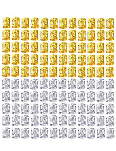 120 Pièces Tresses Perles Mixte 60 Pièces Or et 60 Pièces 8mm Métal Manchettes Tressage Bijoux de Cheveux Décoration