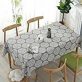 Meiosuns Grey Retro Tischdecke Rechteckige Tischdecke Baumwolle Leinen Tischdecke Geeignet für Home Küche Dekoration, Verschiedene Größen (130x180cm) - 3