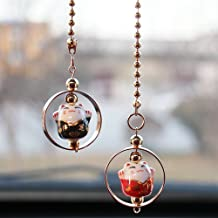 UZHOPM Lucky Cat Car Pendant Chinese Ceramic Car Hanging Ornament Car Interior Decor (Black&Red)
