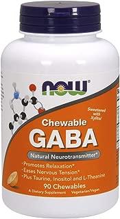 Now Supplements, GABA (Gamma-Aminobutyric Acid), Orange Flavor, 90 Chewables