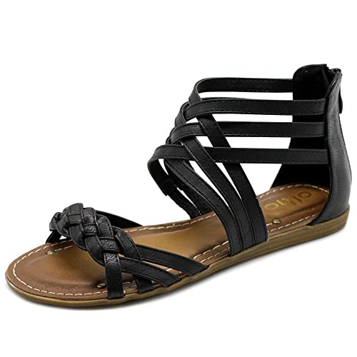 ba2443bff43 Ollio Women s Shoe Gladiator Strappy Zip Closure Multi Color Sandal