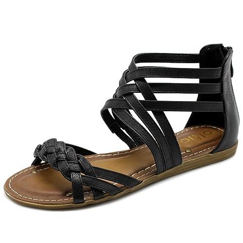 05c97bd009d5 Ollio Women s Shoe Gladiator Strappy Zip Closure Multi Color Sandal