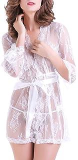 DishyKooker 2PCS/Set Women Sexy Nightdress Night-Robe + G-String See-Through Lace Kimono Style Nightwear Underwear Set