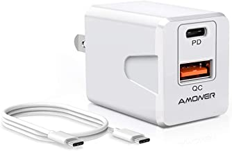 Amoner USB C Wall Charger, 3FT USB C to C Cable, 18W PD Port and 18W QC Port with Foldable Plug Compatible with iPad Pro, iPhone 11/11 Pro/11 Pro Max/Xs/Max/XR/X/8, Galaxy S10/S9/S8