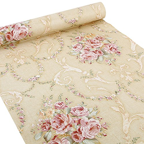 (Yellow-Rose) - Ya Jin Vintage Flower Shelf Liner Dresser Drawer Sticker Self-Adhesive Cabinet Desk Contact Paper Yellow-Rose