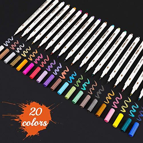 Sinwind metallic stiften, 20 kleuren metallic markeerstiften set voor DIY pen fotoalbum zwarte bladzijden, stiften voor bruiloft gastenboek, stift, scrapbook, kunststof etc - Zachte punt 20 stuks.