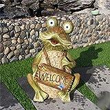 Garten Schilder: Begrüßung im Freien Garten Landschaft Skulptur Simulation Frosch Ornamente Sonnen Willkommen Karte Frosch-Garten Hof for Garden Bar Cafe Shop Tor Tür (Farbe: Eine Farbe, Größe: 31X24X
