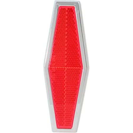 Towing RVs and Buses 1 Pack Trailers Grand General 80864 Red Diamond Stick-On Reflector with Chrome Plastic Trim For Trucks