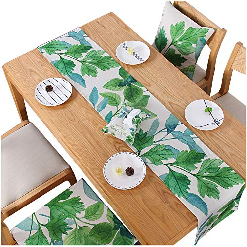 Fresh Green Leaf Cotton and Linen Table Runner, Motor Cabinet, Chest 32x180cm