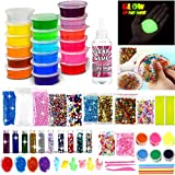 DIY Slime Kit for Girls Boys - Ultimate Glow in the Dark Glitter Slime Making Kit-18 Slime Containers, Foam...