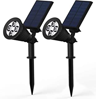 Magictec Solar Spotlights, 2-in-1 Adjustable 4 LED Wall/Landscape Solar Lights with Automatic On/Off Sensor, 2 Pack (White)