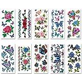 Gobesty Tatuaggi temporanei, 10 Fogli Sexy Fiore 3D farfalla Tatuaggi temporanei impermeabile duratura Body Art autoadesivo del tatuaggio per le donne ragazze Arms Torna spalle gambe